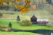 Picturesque Sleepy Hollow Farm on Cloudland Road in The Fall in Woodstock, Vermont, New England, USA