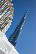 The famous Burj Khalifa, the tallest building in the world, as of 2021 in Dubai, United Arab Emirates