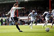 Brentford midfielder Jota (23) takes a penalty and scores during the EFL Sky Bet Championship match between Brentford and Queens Park Rangers at Griffin Park, London, England on 22 April 2017. Photo by Andy Walter.