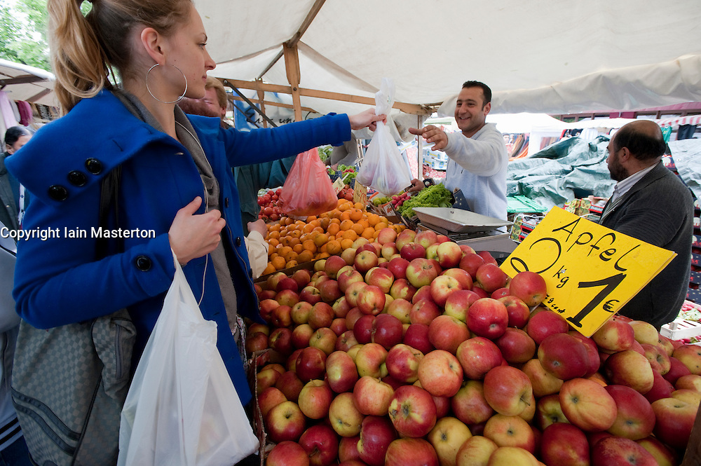 Fruit and vegetable stall at Turkish market on Maybachufer in Kreuzberg district of Berlin Germany