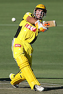 PERTH, AUSTRALIA - DECEMBER 31:  Luke Pomersbach of the Warriors hits out during the KFC Twenty20 Big Bash match between the Western Australian Warriors and the Tasmanian Tigers at the WACA on December 31, 2007 in Perth, Australia.  (Photo by Paul Kane/Getty Images)