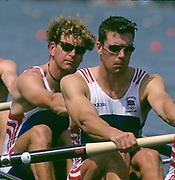 Atlanta, USA. GBR M4- left Jonny SEARLE and Greg SEARLE  opening strokes of the heats. 1996 Olympic Rowing Regatta Lake Lanier, Georgia, USA.  [Mandatory Credit Peter Spurrier/ Intersport Images]