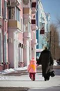 Locals walking in Komsomolsk-on-Amur.Siberia, Russia