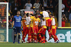 April 29, 2018 - Benevento, Italy - Players of Benevento Calcio celebrate the 2-1 goal scored by Massimo Coda, beside the disappointment of Caetano Samir of Udinese Calcio during the serie A match between Benevento Calcio and Udinese Calcio at Stadio Ciro Vigorito on April 29, 2018 in Benevento, Italy. (Credit Image: © Paolo Manzo/NurPhoto via ZUMA Press)