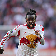Pegguy Luyindula, New York Red Bulls, in action during the New York Red Bulls Vs New England Revolution, MLS Eastern Conference Final, first leg at Red Bull Arena, Harrison, New Jersey. USA. 23rd November 2014. Photo Tim Clayton