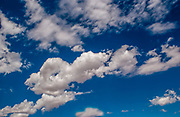 Blue sky with white puffy clouds in New Mexico