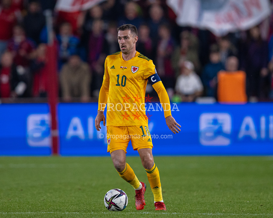 PRAGUE, CZECH REPUBLIC - Friday, October 8, 2021: Wales' captain Aaron Ramsey during the FIFA World Cup Qatar 2022 Qualifying Group E match between Czech Republic and Wales at the Sinobo Stadium. The game ended in a 2-2 draw. (Pic by David Rawcliffe/Propaganda)