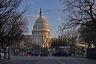 Metal fence put up around the Capitol Building in Washington DC to secure Biden's inuguration after the insurgency on Jan. 6, 2021.