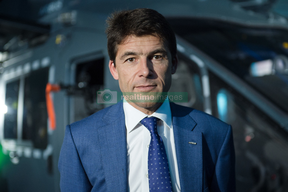 The forthcoming Airbus light defense Helicopter for military uses, 'The Guepard' has been presented in Marignane Airbus headquarters (close to Marseille) by Bruno Even, Airbus Helicopters CEO, on May the 27, 2019. It will fly two years earlier from the initial schedule, 2026 instead of 2028. Airbus has presented the first full scale model this day. The inter army lightweight secured Helicopter program represent 2,000 Jobs for Airbus Helicopters. Headshot (Portrait) of Bruno Even, Airbus Helicopters CEO in front of the Guepard full scale Model. Photo by Clement Mahoudeau / ABACAPRESS.COM