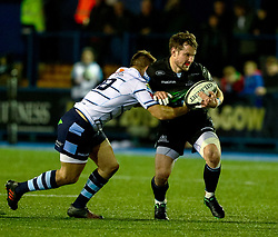 Peter Horne of Glasgow Warriors is tackled by Jarrod Evans of Cardiff Blues<br /> <br /> Photographer Simon King/Replay Images<br /> <br /> Guinness PRO14 Round 15 - Cardiff Blues v Glasgow Warriors - Saturday 16th February 2019 - Cardiff Arms Park - Cardiff<br /> <br /> World Copyright © Replay Images . All rights reserved. info@replayimages.co.uk - http://replayimages.co.uk
