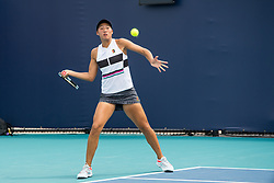 March 18, 2019 - Miami Gardens, FL, U.S. - MIAMI GARDENS, FL - MARCH 18: Qinwen Zheng (CHN) in action during the Miami Open on March 18, 2019 at Hard Rock Stadium in Miami Gardens, FL. (Photo by Aaron Gilbert/Icon Sportswire) (Credit Image: © Aaron Gilbert/Icon SMI via ZUMA Press)