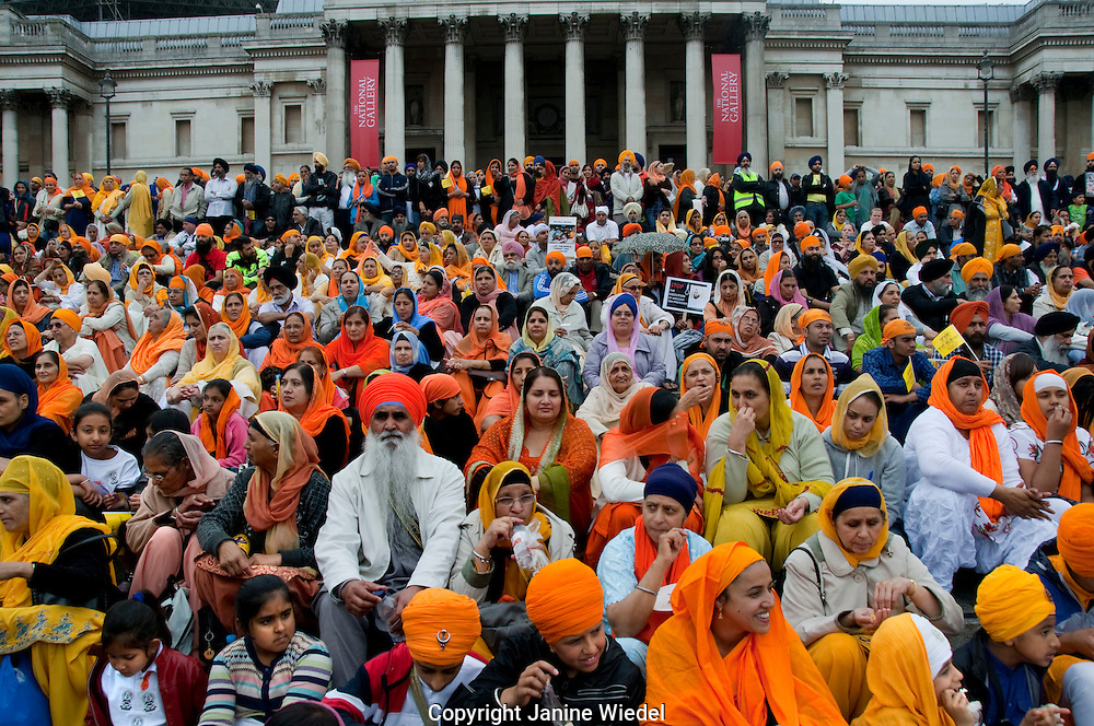 25,000 Sikhs marched to Trafalgar Square commemorating the 1984 massacre at the Golden Temple in Amritsar, Punjab, North Indiacovering