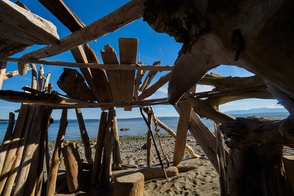 North America, United States, Washington, Whidbey Island, Langley, shelter constructed from driftwood on beach
