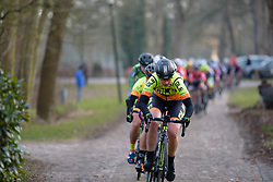 Roxane Knetemann leads the charge across the cobbles at Drentse 8 van Westerveld 2018 - a 142 km road race on March 9, 2018, in Dwingeloo, Netherlands. (Photo by Sean Robinson/Velofocus.com)