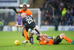 Dundee United's Guy Demel, Dundee's Gary Harkins and Dundee's keeper David Mitchell. <br /> Dundee 2 v 1  Dundee United, SPFL Ladbrokes Premiership game played 2/1/2016 at Dens Park.