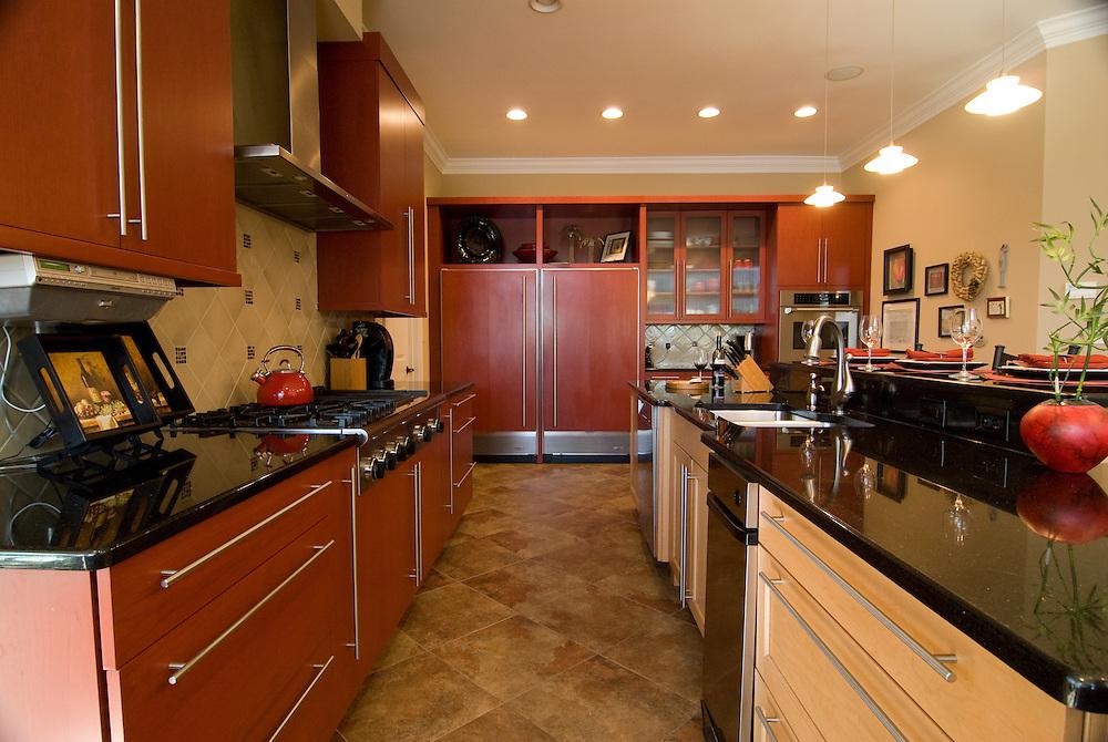 Red Cabinet Kitchen, River Landing Community