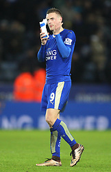 Jamie Vardy of Leicester City applauds the fans at the final whistle - Mandatory byline: Jack Phillips/JMP - 23/01/2016 - FOOTBALL - King Power Stadium - Leicester, England - Leicester City v Stoke City - Barclays Premier League