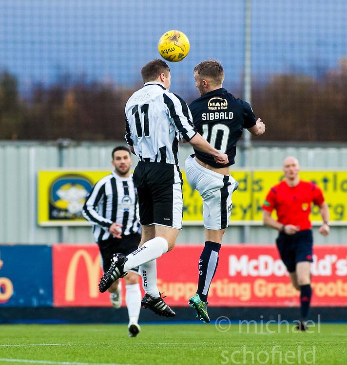 Fraserburgh's Marc Lawrence and Falkirk's Craig Sibbald. <br /> Falkirk 4 v 1 Fraserburgh, Scottish Cup third round, played 28/11/2015 at The Falkirk Stadium.