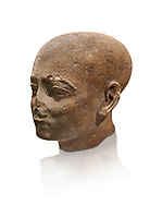 Ancient Egyptian statue shaved head of a priest, New Kingdom, 18th Dynasty, (1390-1353 BC). Egyptian Museum, Turin. Drovetti collection. Cat 3141. white background. .<br /> <br /> If you prefer to buy from our ALAMY PHOTO LIBRARY  Collection visit : https://www.alamy.com/portfolio/paul-williams-funkystock/ancient-egyptian-art-artefacts.html  . Type -   Turin   - into the LOWER SEARCH WITHIN GALLERY box. Refine search by adding background colour, subject etc<br /> <br /> Visit our ANCIENT WORLD PHOTO COLLECTIONS for more photos to download or buy as wall art prints https://funkystock.photoshelter.com/gallery-collection/Ancient-World-Art-Antiquities-Historic-Sites-Pictures-Images-of/C00006u26yqSkDOM