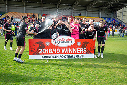 Arbroath cele after winning the league. Brechin City 1 v 1 Arbroath, Scottish Football League Division One played 13/4/2019 at Brechin City's home ground Glebe Park. Arbroath win promotion.