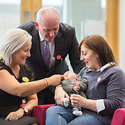 04.10. 2017.                   <br /> HEALTHCARE staff across the MidWest are taking part in a major vaccination programme to protect patients from flu this winter.<br />  <br /> UL Hospitals Group and HSE Mid West Community Healthcare this Wednesday joined forces to launch a flu campaign aimed at vaccinating thousands of healthcare workers in community, primary, mental health and acute hospital settings across Limerick, Clare and Tipperary. A national target of 40% uptake rate has been set by the HSE.<br /> <br /> Pictured at the launch were, University Hospitals Group CEO Colette Cowan, Bernard Gloster, Chief Officer Mid West Community Health Care and Aine Murray, Dooradoyle with her baby son Cuan, 11 weeks.<br />  <br /> The HSE will next Monday, October 9th, launch its national flu campaign, with at-risk groups – including the over-65s; people with long-term chronic illnesses; pregnant women and residents of nursing homes and other longstay facilities – encouraged to get the vaccine from their family doctor or pharmacist. Picture: Alan Place