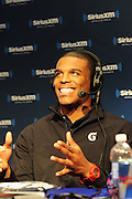 2/1/13 New Orleans LA.-NFL Super Bowl XLV11 Radio Row QB Cam Newton speaks with SiriusXM Radio.Photo©Suzi Altman