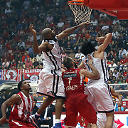 Anadolu Efes's Alfred Jamon Lucas (2ndL) during their Turkish Airlines Euroleague Basketball playoffs Game 5 Olympiacos between Anadolu Efes at SEF Indoor Hall in Piraeus, in Greece, Friday, April 26, 2013. Photo by TURKPIX