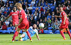 Peterborough United's Michael Bostwick scores his second goal of the game - Photo mandatory by-line: Joe Dent/JMP - Mobile: 07966 386802 - 25/04/2015 - SPORT - Football - Peterborough - ABAX Stadium - Peterborough United v Crawley Town - Sky Bet League One