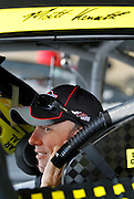 NASCAR Sprint Cup Series auto racing driver Matt Kenseth get ready for a practice run at Kansas Speedway in Kansas City, Kan., Saturday, Oct. 17, 2015. (AP Photo/Colin E. Braley)