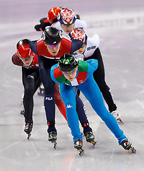 February 17, 2018 - Gangneung, South Korea - Arianna Ita of Italy leads the group early in the Ladies Short Track Speed Skating 1500M finals at the PyeongChang 2018 Winter Olympic Games at Gangneung Ice Arena on Saturday February 17, 2018. (Credit Image: © Paul Kitagaki Jr. via ZUMA Wire)