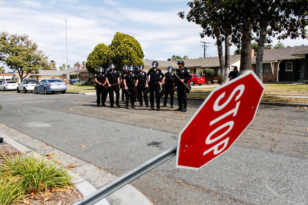 Riot police waiting for orders on May 25, 2016 in Anaheim, California.