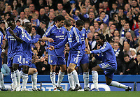 Photo: Lee Earle.<br /> Chelsea v Watford. The Barclays Premiership. 11/11/2006. Chelsea's Didier Drogba (R) celebrates after his first goal.