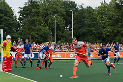 (L-R) goalkeeper Arthur Thieffry of France, Thierry Brinkman of The Netherlands, Nicolas Dumont of France, Aristide Coisne of France, Jeroen Hertzberger of The Netherlands, Mirco Pruyser of The Netherlands, Antoine Ferec of France during the Champions Trophy match between the Netherlands and France on the fields of G.H.C. Rapid on June 15th, 2018 in Gorinchem, The Netherlands.