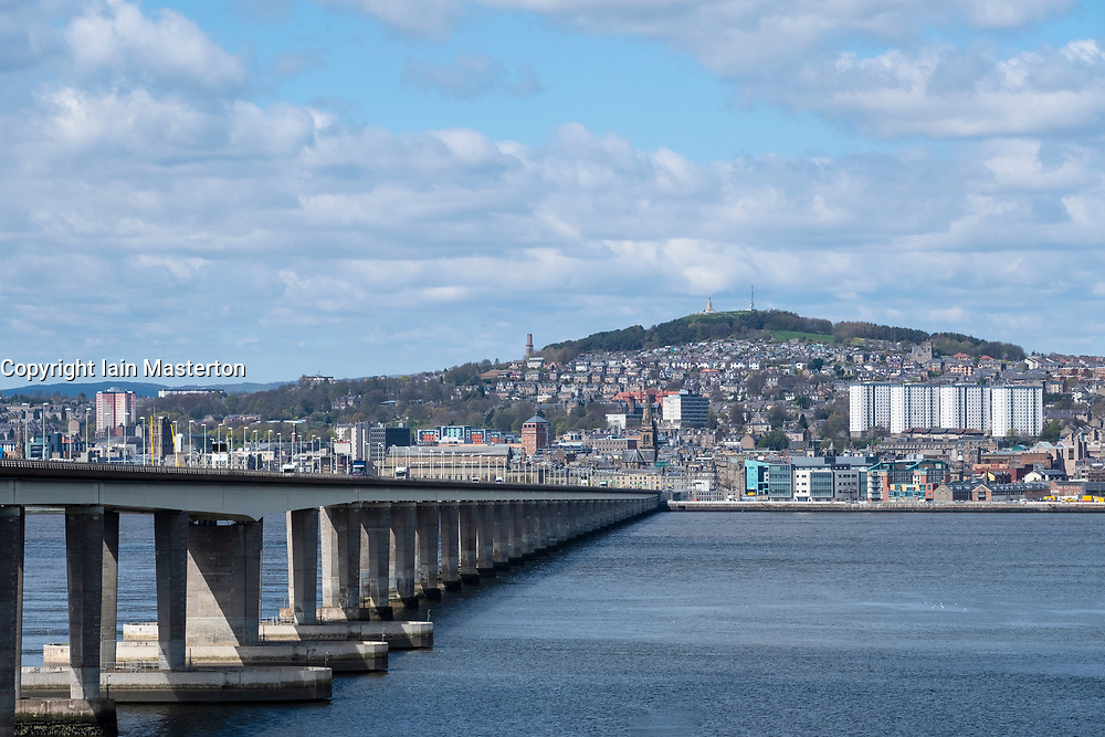 View over River Tay to city of Dundee with Tay Road Bridge to left, Tayside, Scotland, UK.