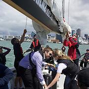 Onboard sailing on the America's Cup Yacht NZL41. The yacht sails  with tourist daily on Auckland Harbour from the Viaduct Basin. Auckland, New Zealand, 3rd November 2010. Photo Tim Clayton.