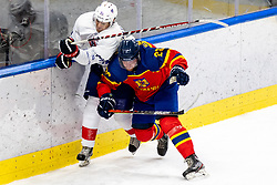 Kevin Hecquefeuille of France vs Eduard Casaneanu of Romania during match at Beat Covid 19 IIH Tournament 2021 between national teams of Romania and France in Hala Tivoli on 15th of May, 2021, Ljubljana, Slovenia . Photo By Morgan Kristan / Sportida
