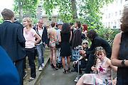 TICKY HEDLEY-DENT; NICK HACKWORTH, Sebastian Horsley funeral. St. James's church. St. James. London afterwards in the church garden. July 1 2010. -DO NOT ARCHIVE-© Copyright Photograph by Dafydd Jones. 248 Clapham Rd. London SW9 0PZ. Tel 0207 820 0771. www.dafjones.com.