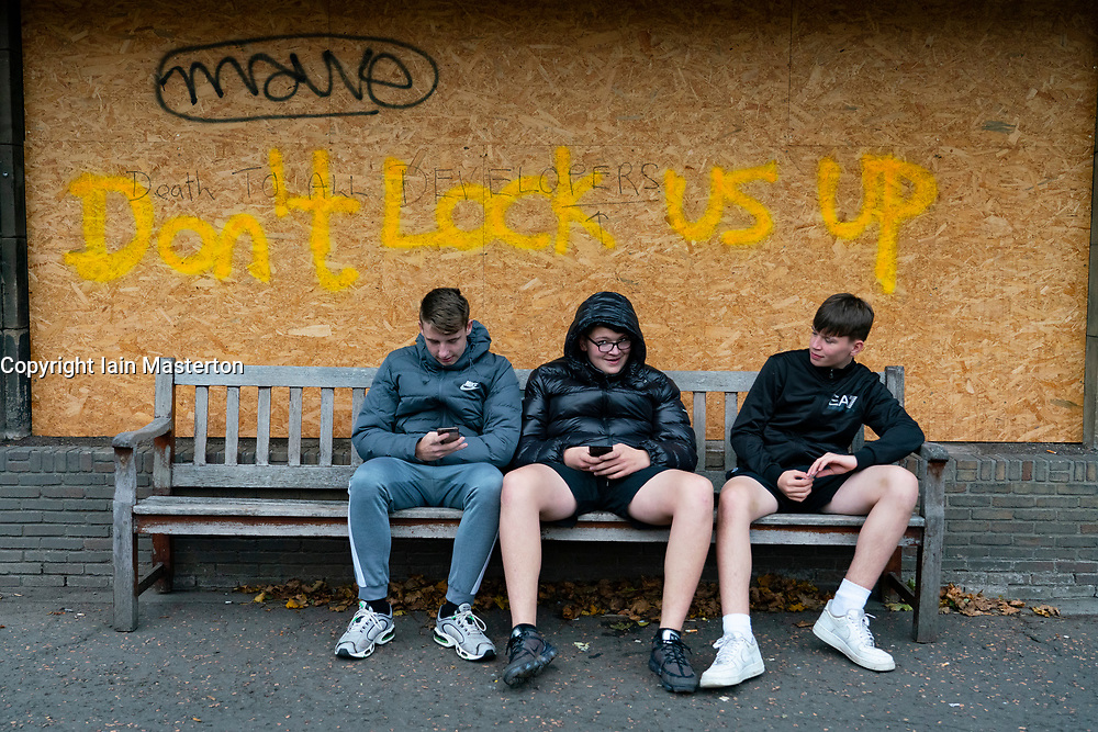 Edinburgh, Scotland, UK. 21 October 2020. First Minister Nicola Sturgeon announces that bars and restaurants in Central Belt of Scotland to remain closed. Pictured; anti-lockdown graffiti has appeared in princes Street Gardens. Iain Masterton/Alamy Live News