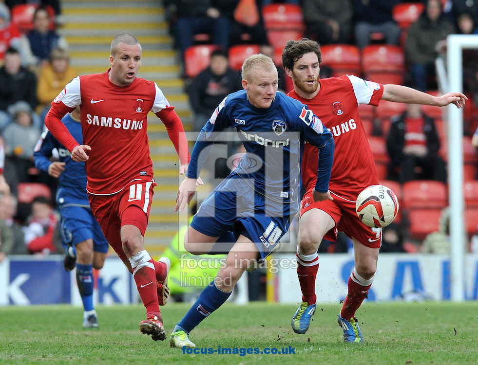 Picture by Alan Stanford/Focus Images Ltd +44 7915 056117.27/04/2013.Robbie Simpson of Oldham Athletic comes away with the ball during the npower League 1 match at the Matchroom Stadium, London.. .