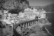 The town of Atrani, located down the coast from Amalfi, Campagna, Italy.