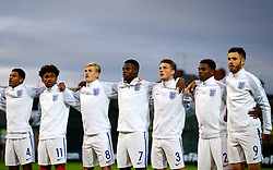Jonathan Leko of England with his international teammates as they sing the National Anthem - Mandatory by-line: Robbie Stephenson/JMP - 05/09/2017 - FOOTBALL - One Call Stadium - Mansfield, United Kingdom - England U19 v Germany U19 - International Friendly