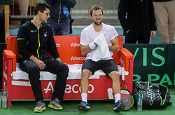 Miha Mlakar and Tom Kocevar Desman of Slovenia  during the Day 2 of Davis Cup 2018 Europe/Africa zone Group II between Slovenia and Poland, on February 4, 2018 in Arena Lukna, Maribor, Slovenia. Photo by Vid Ponikvar / Sportida