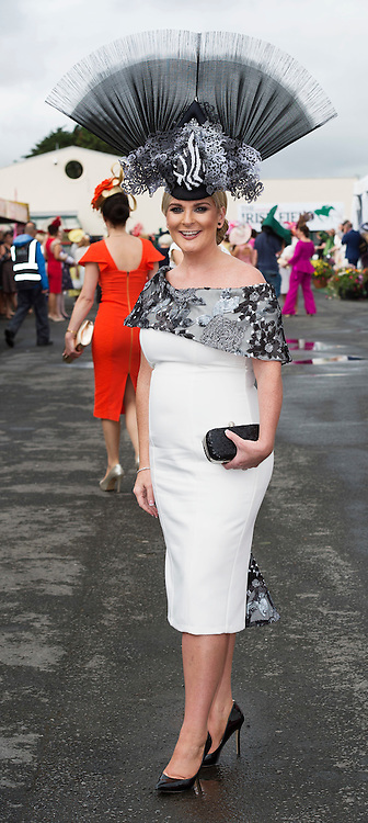 28/07/2016 repro free    Caroline Downey Galway  in the prestigious g Hotel & Spa Best Hat  competition on Ladies day of The Galway Races    . Photo:Andrew Downes, xposure