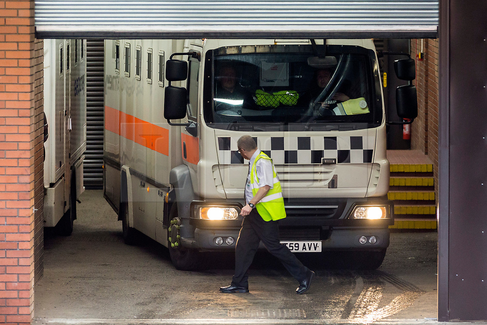 """© Licensed to London News Pictures. 14/11/2018. Leeds UK. A prison van believed to be transporting Charles Bronson from HMP Frankland arrives at Leeds Crown Court this morning. Bronson age 65 """"Britain's most violent prisoner"""" is on trial at Leeds Crown Court charged with attempting to cause grievous bodily harm with intent to HMP Wakefield Governor Mark Docherty on January the 25th. Bronson is defending himself in court & is standing trial under the name Charles Salvador.  Photo credit: Andrew McCaren/LNP"""