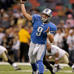 2009 September 13: Detroit Lions rookie quarterback Matthew Stafford (9) warms up before a week one regular season game between the New Orleans Saints and the Detroit Lions at the Louisiana Superdome in New Orleans, Louisiana.