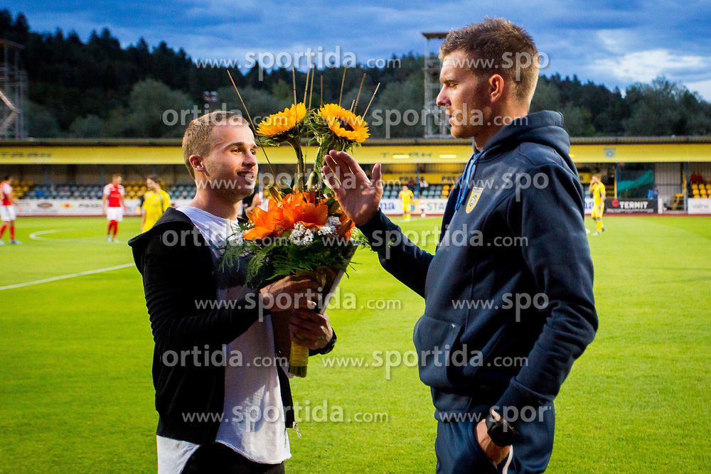 Jan Repas and Simon Rozman during football match between NK Domžale and NK Aluminij in 6th Round of Prva liga Telekom Slovenije 2017/18, on August 20, 2017 in Sports park Domzale, Domzale. Photo by Ziga Zupan / Sportida