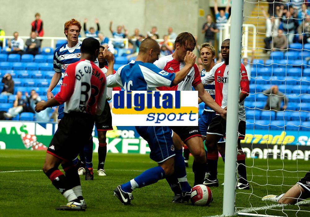 Photo: Ed Godden.<br />Reading v Feyenoord. Pre Season Friendly. 12/08/2006.<br />Ivar Ingimarsson (#16) scores Reading's second goal.