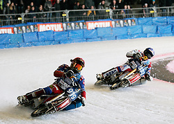 13.03.2016, Assen, BEL, FIM Eisspeedway Gladiators, Assen, im Bild Dmitry Khomitsevich (RUS), Daniil Ivanov (RUS) // during the Astana Expo FIM Ice Speedway Gladiators World Championship in Assen, Belgium on 2016/03/13. EXPA Pictures © 2016, PhotoCredit: EXPA/ Eibner-Pressefoto/ Stiefel<br /> <br /> *****ATTENTION - OUT of GER*****