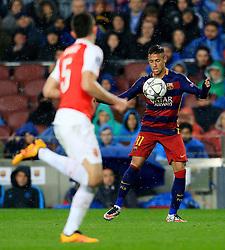 Neymar of Barcelona chests the ball ahead of Arsenal's Gabriel Paulista  - Mandatory byline: Matt McNulty/JMP - 16/03/2016 - FOOTBALL - Nou Camp - Barcelona,  - FC Barcelona v Arsenal - Champions League - Round of 16