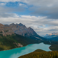 Caldron Peak and Mount Patterson tower over Peyto Lake in Banff National Park, Alberta, Canada. Below and beyond is the Mistaya Valley.